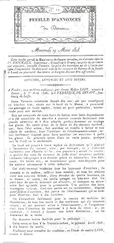 Annonce de vente de la Verrerie de Leffe 1828